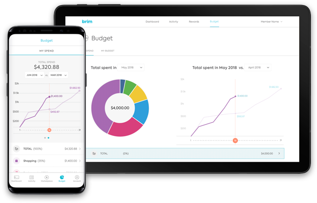 Brim 360 Budget Tracker on iPhone and tablet